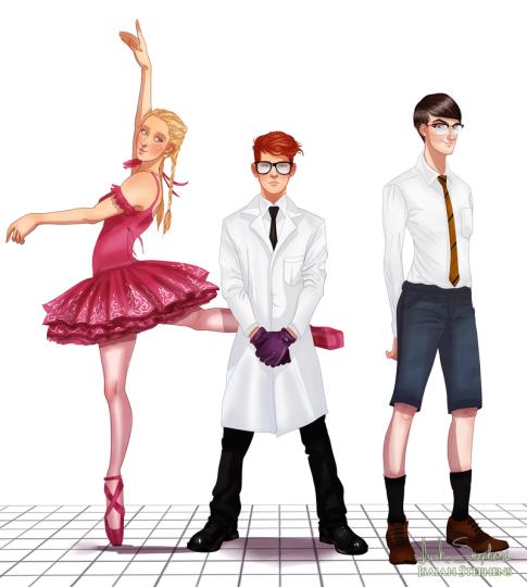 Laboratorio de Dexter con cerebro y Dee Dee cuando crecieron