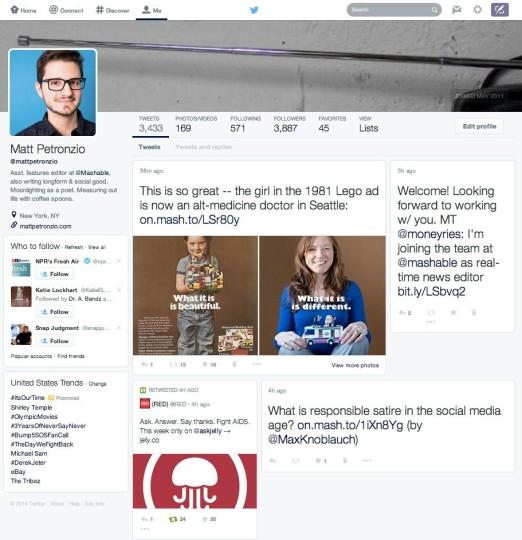 Nuevo diseño de Twitter 2014, se parece mucho a Facebook