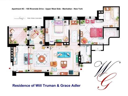 Planos del apartamento de Will Truman y Grace Adler