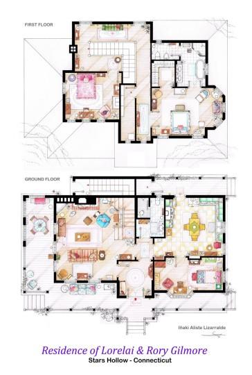 Planos de casa de Lorelai and Rory Gilmore