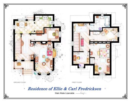 Planos de casa de la película UP Elli y Carl Fredricksen