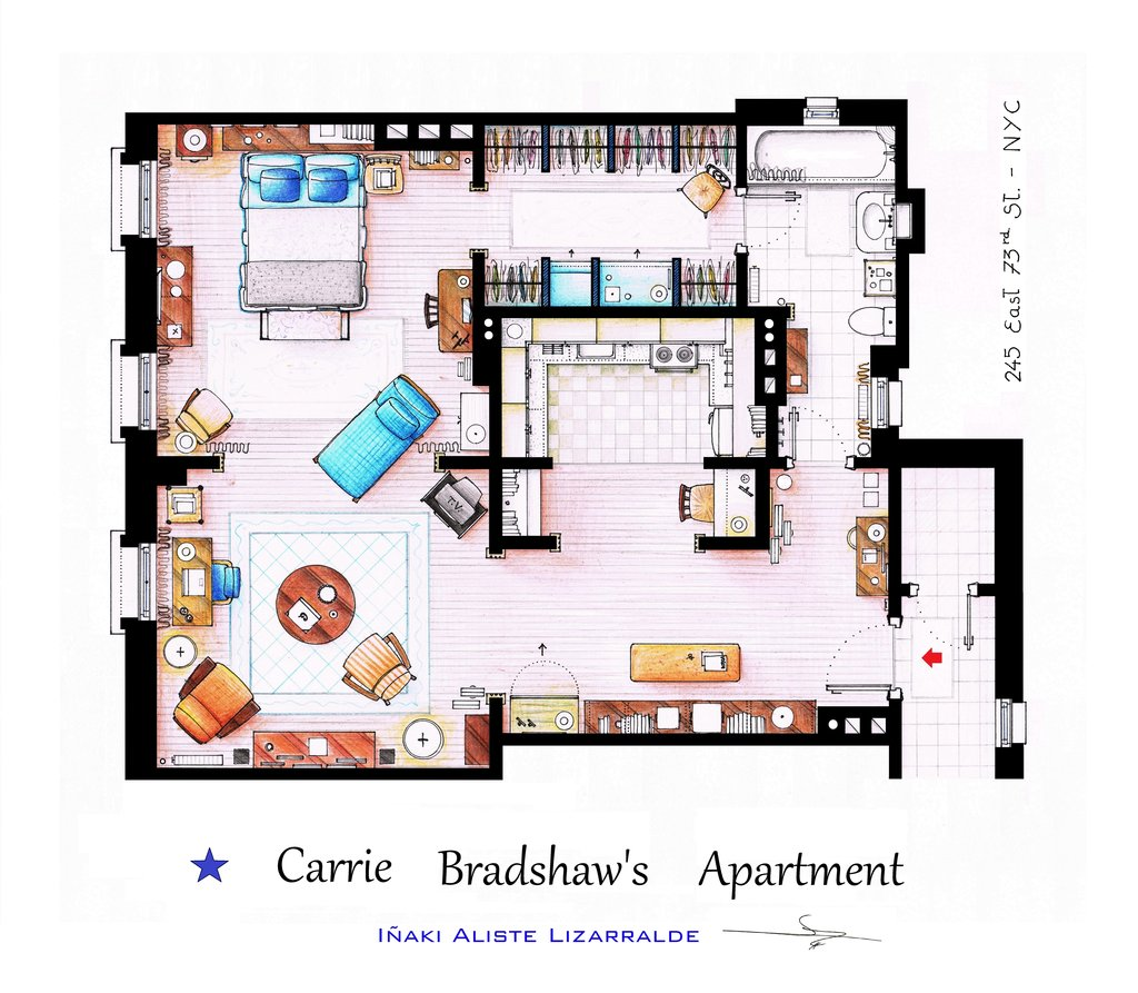 Planos de departamento de  Sex and the City de Carrie Bradshaw