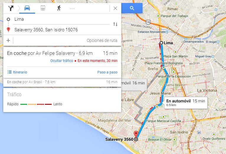 Conocer las rutas rápidas de tránsito con Google Maps