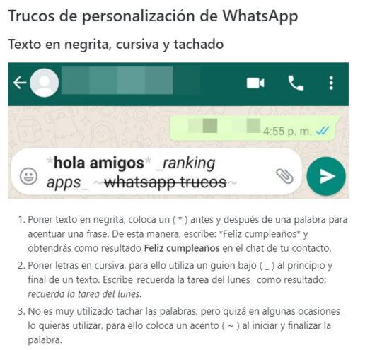 Trucos whatsapp para hacer textos negrita, cursiva y tachado